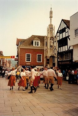 Woodfidley, beside the Buttercross in Winchester, dancing 'The Buttercross' written for them by Colin Hume.