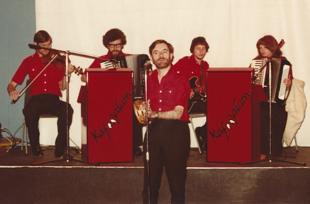Kafoozalum in the 1970s: Pete Sawyer, Peter Jenkins, Colin Hume, Graham Ford and Jacki Whitby