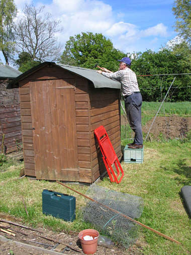 Felting the shed roof
